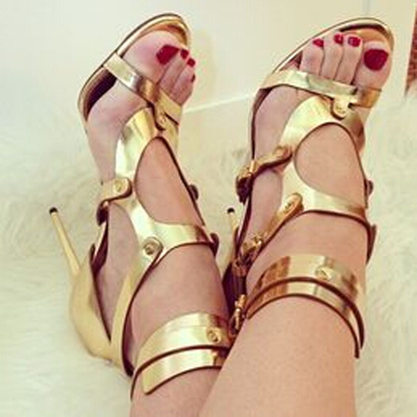 Nice gold ankle boots gladiator sandals thin high heels for woman sandals open toe hollow out buckle strap summer women shoes women shoes for summer open toe mesh laser gladiator sandal boots buckle strap thin high heels sandalias mujer ladies shoes