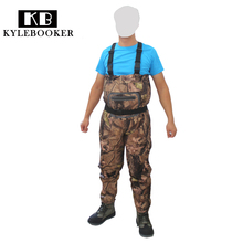 Outdoor  New Men's Fly Fishing chest Waders  Breathable Camouflage Hunting Waterproof Wading pants Upstream wader trousers недорого