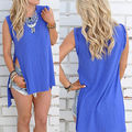 New Women Casual Summer Sleeveless Blue Basic Irregular Split T-shirt Tops Tees
