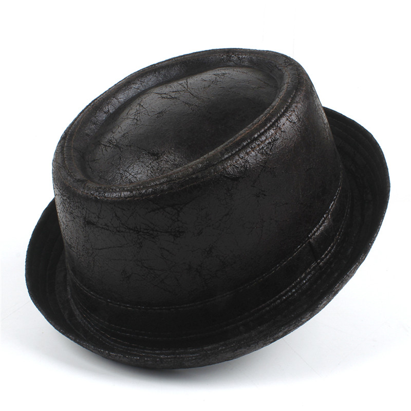 240fa924bd5 100% Leather Men pork pie Fedora Hat Dad Boater Flat Top Hat For ...