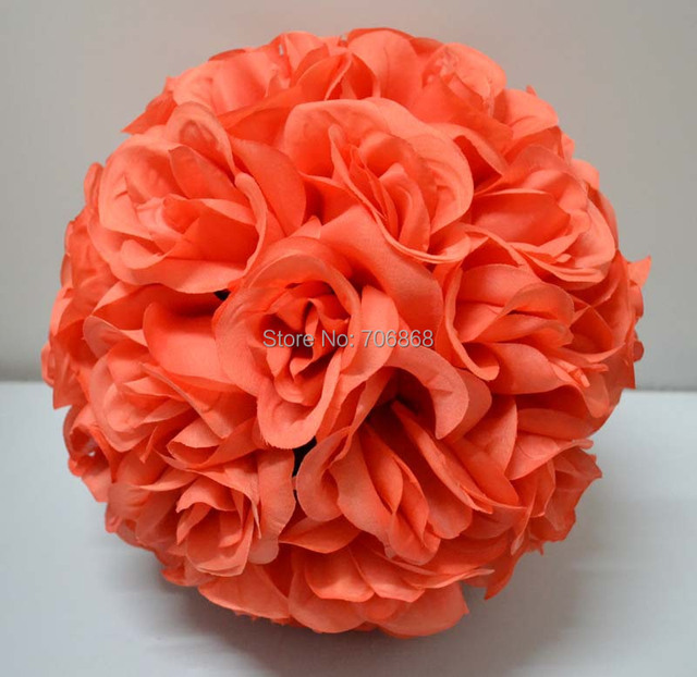 10 pack of 10 coral color artificial kissing rose silk flower ball