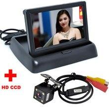 4 LED Nachtsicht Auto Einparkhilfe Auto Rückfahrkamera Mit 4,3 zoll LCD Auto Faltbare Monitor