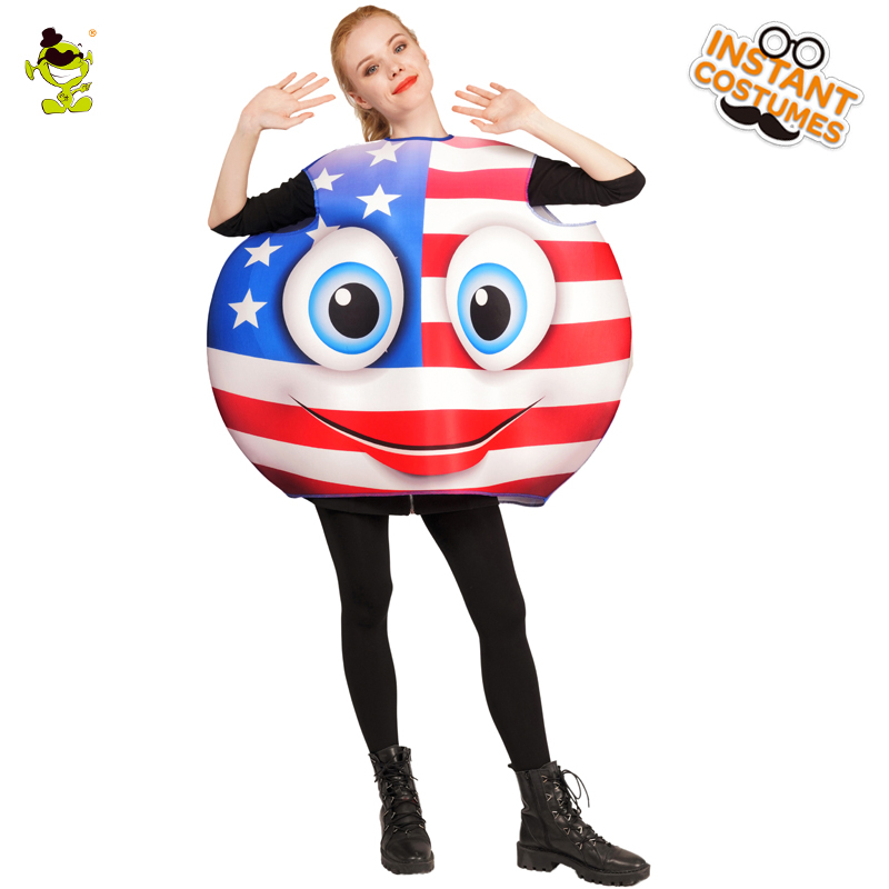 Adults National Flag Smiling Face Emoji Costume Cute Emoji Jumpsuit Cosplay In Halloween Carnival Party Fancy Dress Costumes