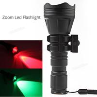 SecurityIng B158 Convex Lens Zoom Flashlight LED Torch Hunting Light Aluminum Tactical Flashlight Red / Green