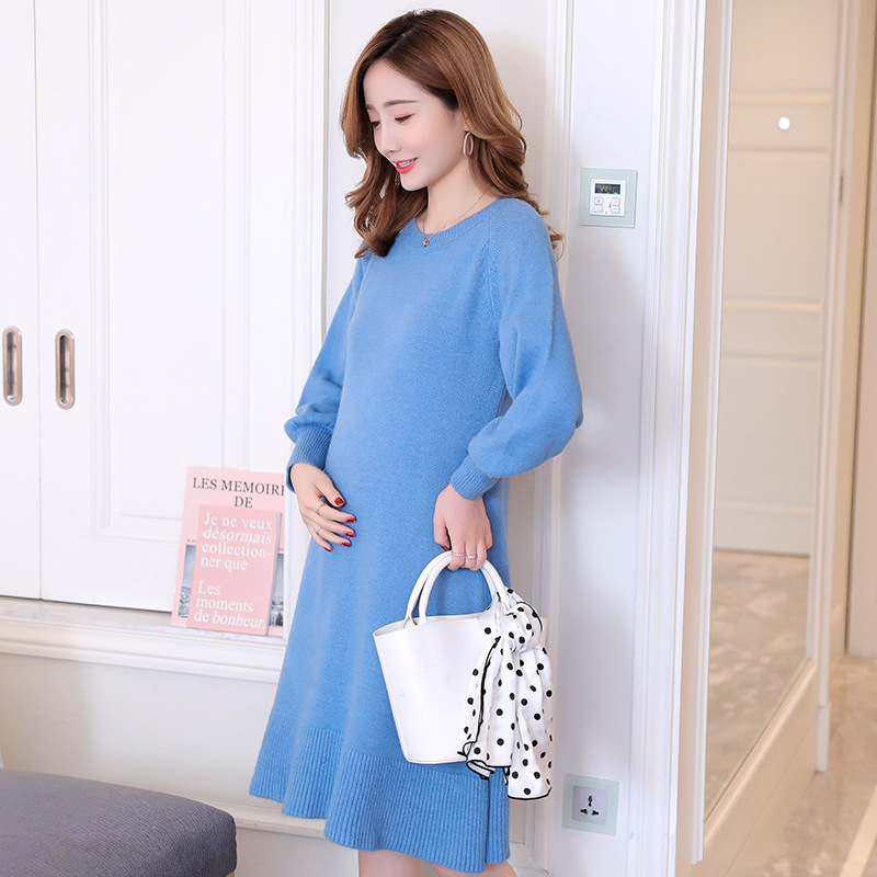 Fashion Loose Knitted Maternity Sweaters Winter Elegant Maternity Clothes for Pregnant Women Sweet Pregnancy Dress Dropshiping fashion cotton padded maternity shirts autumn winter fashion thick knitted long sleeve pregnancy tops loose maternity clothes
