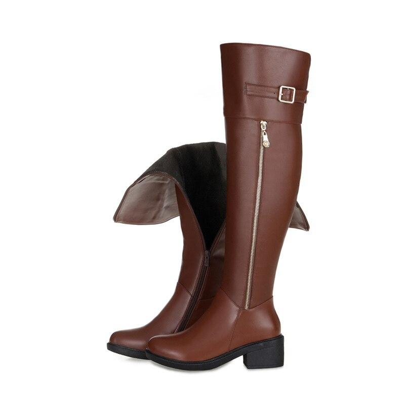 Square 35 Las Más Pu Venta Cuero Rodilla Botas 43 Señoras Zapatos Negro De marrón Genuino Hebilla Tamaño Heel Moda Otoño Caliente Zipper Invierno Alta 7RqR5w