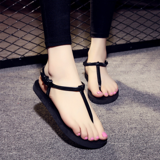 b5a92c395bcf New Summer Sandals Women T strap Flip Flops Sandals PVC Elastic Fashion  Flats Top Quality Solid Flip Flops Sexy Slippers-in Low Heels from Shoes on  ...
