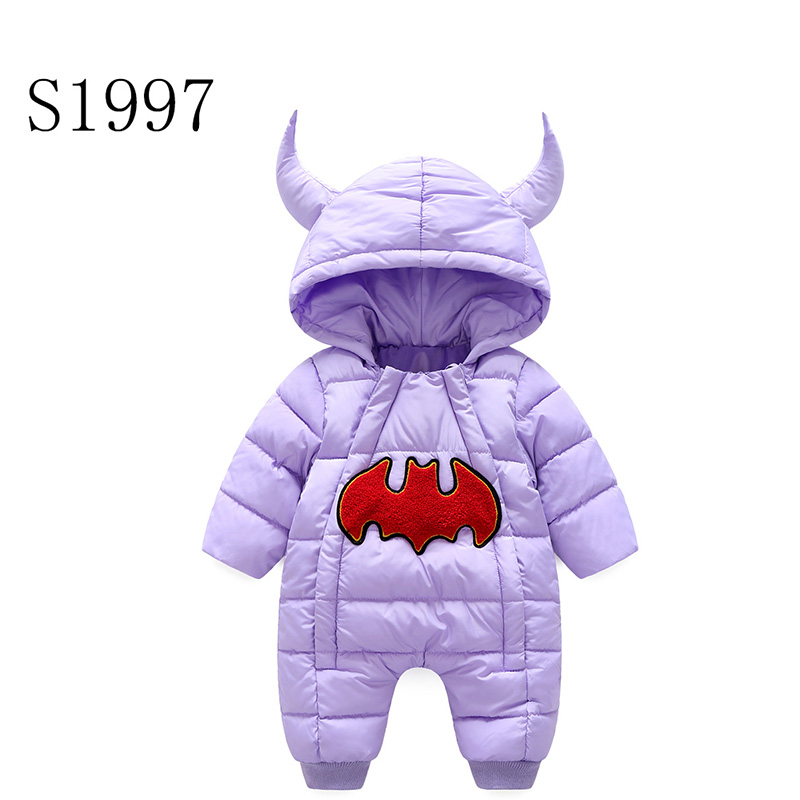 Comfortable Feather Rompers Winter Thickening Warm Baby Boy Clothing Long Sleeve Cartoon Hooded Jumpsuit Kids Newborn Outwear warm thicken baby rompers long sleeve organic cotton autumn