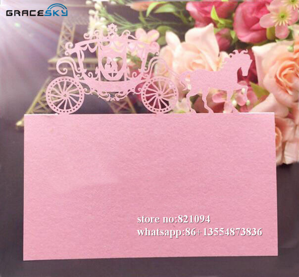 Us 10 65 18 Off 50pcs Laser Cut Paper Seat Name Table Cards Wedding Party Invitation Cards Prince Princess In Carriage For Party Home Supplies In