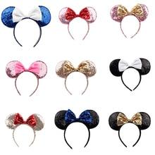 Повязка на голову для девочек Минни Маус подарок на день рождения женские блестящие уши Минни-Маус повязка на голову Детские аксессуары для волос
