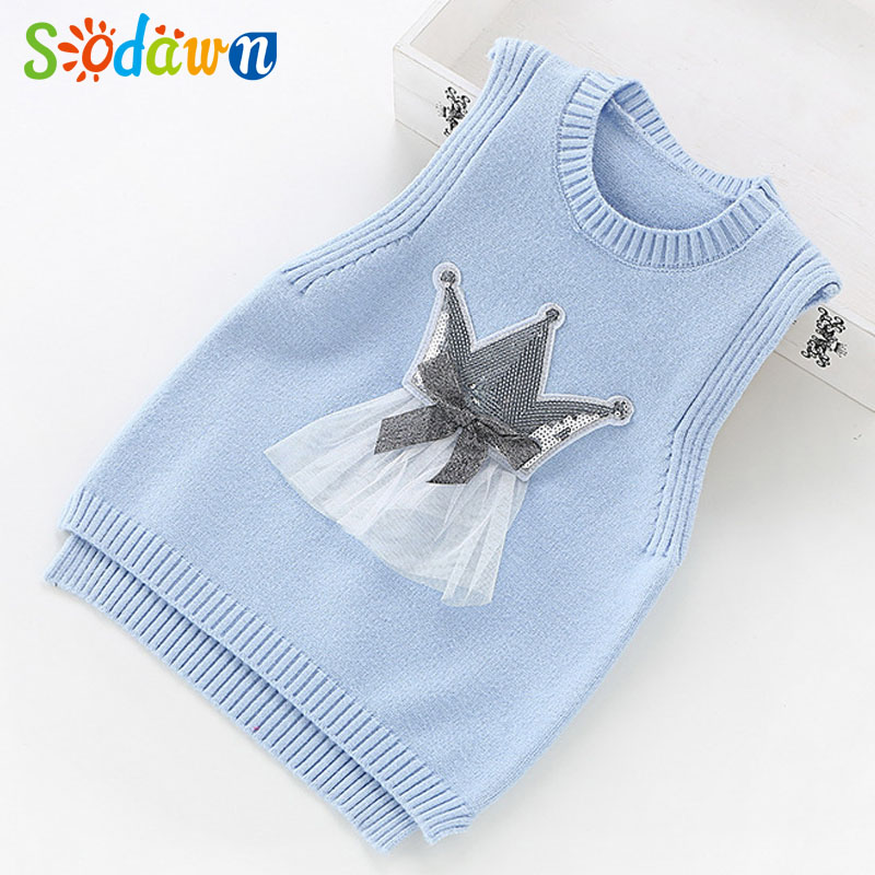 Sodawn Children Sweater Girls Sweater 2017 New Autumn Winter Childrens Clothing Baby Girls Knitting Vest Fashion Girls Clothes