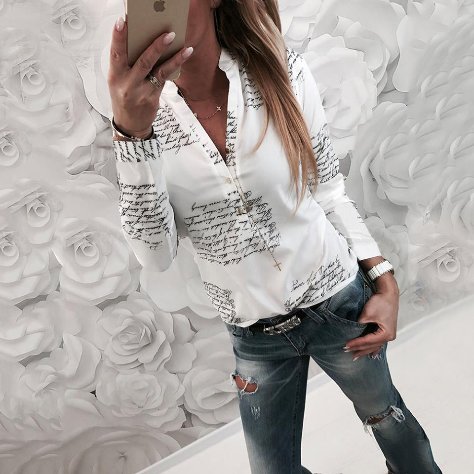 Fashion Letters Print White Chiffon Blouses Tops Long Sleeve V-Neck Buttons Casual Autumn Top Shirts