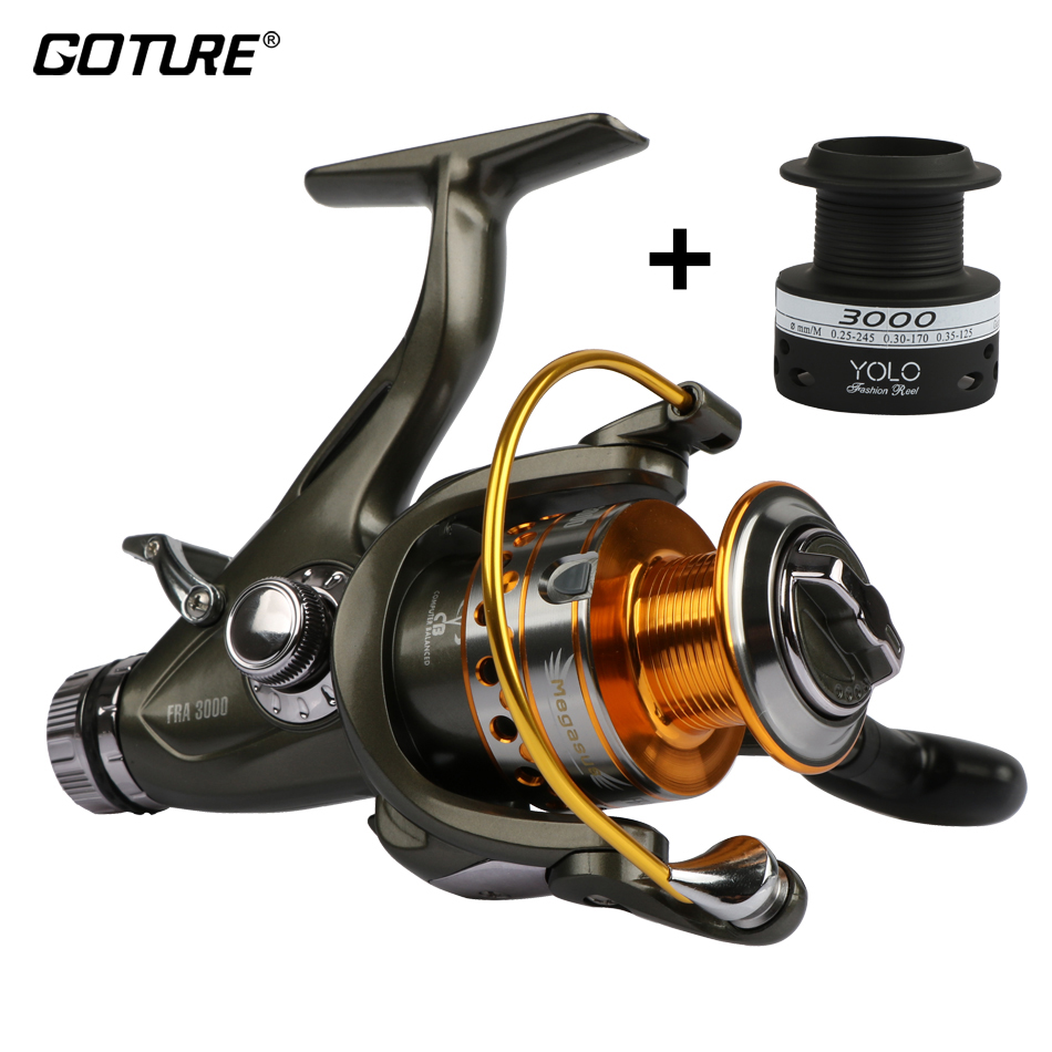 Goture 10BB Carp Reel 5.1: 1 Feeder Metal Spinning Fishing Reel 3000-6000 Sleeved-systeem aan de voor- en achterzijde, zeevis reel + extra spoel