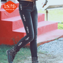 Aporia.As Original Design Spring Autumn Women Vintage Skinny Black Jeans Embroidery Slim Retro Finishing Pencil Denim Pants