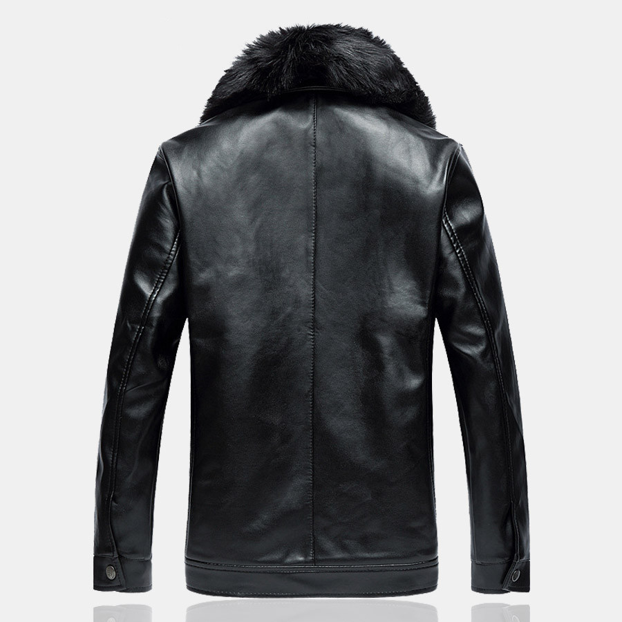 Men Leather Jackets Coats Brand Winter Fleece Male Slim Fit Big ...