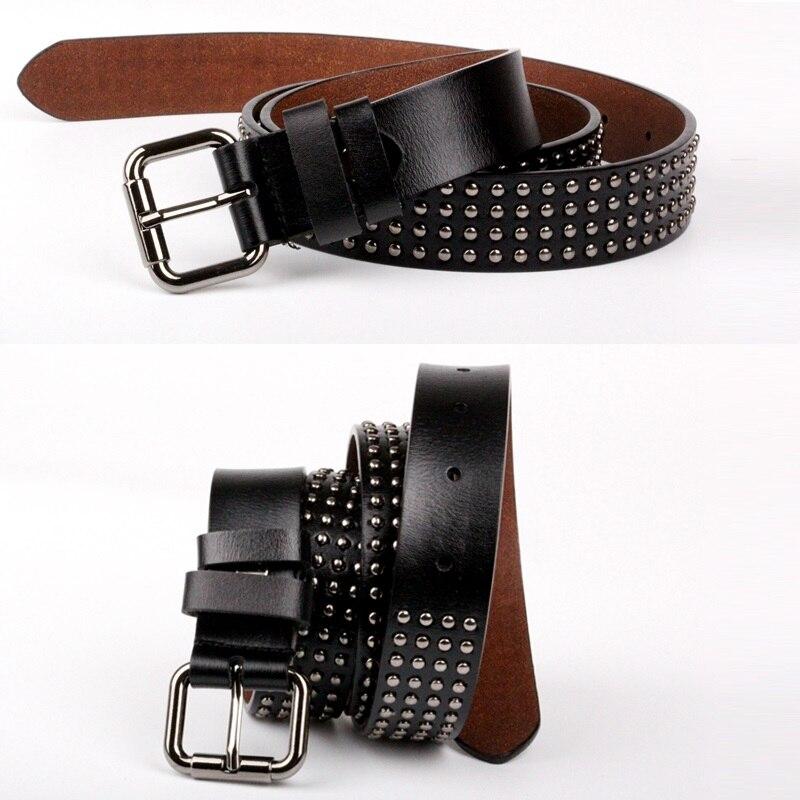 2018 Punk Style Women   Belt   Rivet Genuine Cowskin Leather   Belt   Ladies Men Vintage Cowboy   Belts   Steel Pin Buckle Waistband