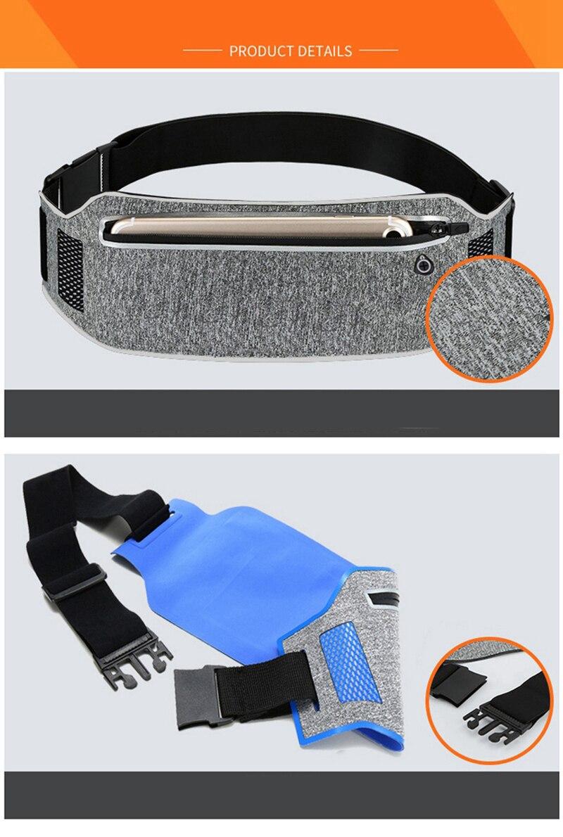 Professional Running Waist Pouch Belt Sport Belt Mobile Phone Men Women With Hidden Pouch Gym Bags Running Belt Waist Pack (19)