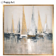 New Arrival Beautiful Painting Hand-painted High Quality Gold and Silver Sailboat Oil for Room Decor Landscape