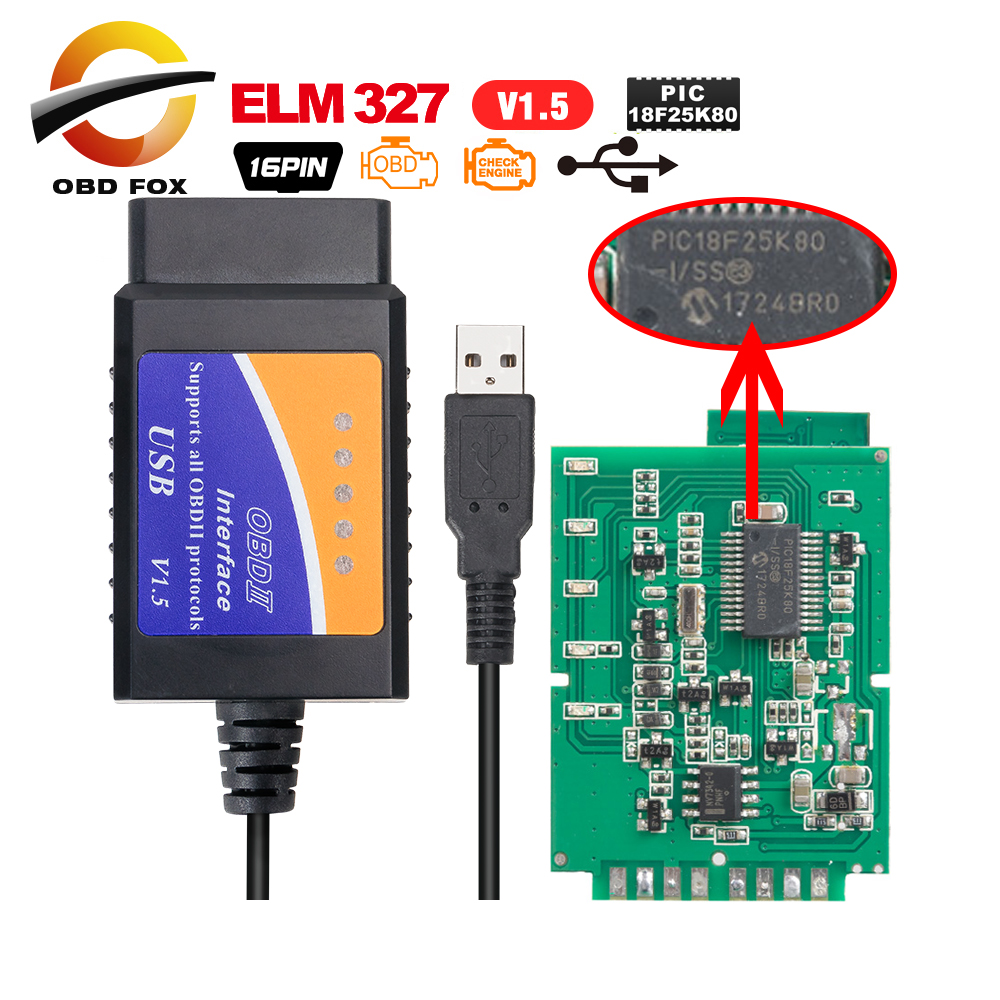 Roblue ELM327 Bluetooth Mini car Diagnostic Tool OBD2 Interface OBDII Scanner Android V1.5 ELM 327 Cable Torque CAN Bus Code Software Wireless PC New Version