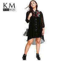 Kissmilk Women Plus Size Vintage Rose Embroidery High Low Shirt Dress Long Sleeve Chiffon Big Size Party Dress 3XL 4XL 5XL 6XL