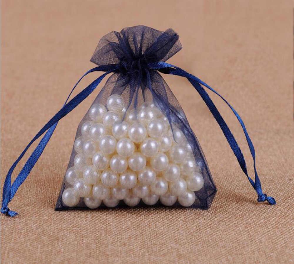 100 pcs/lot Drawable Navy blau Kleine Große Organza Taschen Favor Hochzeit Party Weihnachten Geschenk Taschen Schmuck Verpackung Taschen beutel