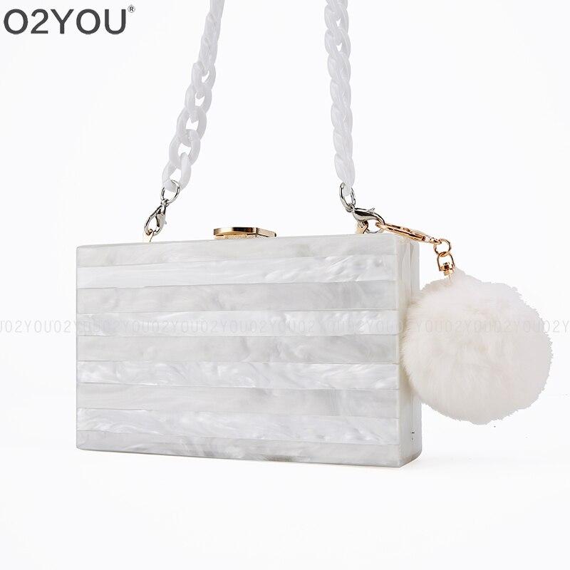 Pearl alb cu bej splice acrilic Box Ambreiaj Colorate acrilic - Genți