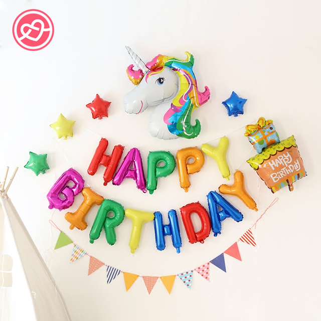 New 19 Pcs Lot Colorful Unicorn Balloons Party Happy Birthday Suit Helium Balloon Decorator