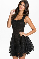New Women Summer Sexy Dress Night Club Wear Black Lace Sleeveless Backless Party Skater Dresses 2016