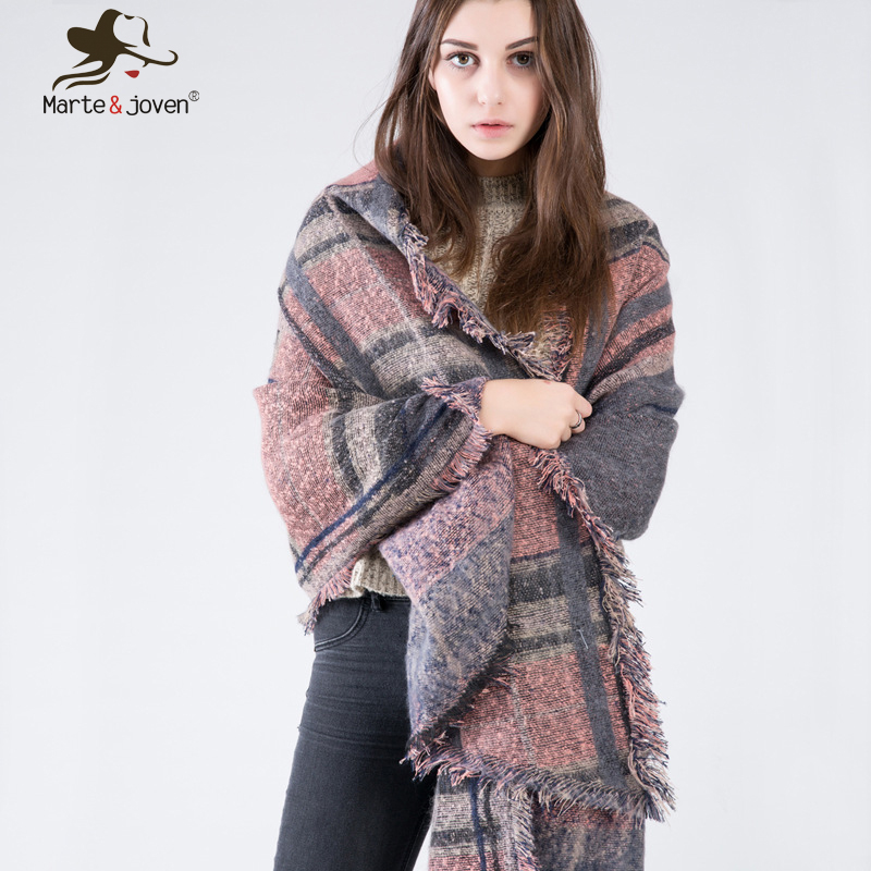 Europe Style Winter Warm Blanket <font><b>Scarf</b></font> and Pashmina for Women Oversized Imitation Cashmere Tartan Shawl 2017 New Za Design