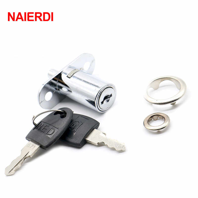 NAIERDI105-32 Plunger Lock Push Lock With 2 Key For Sliding Glass Door Showcase Lock Furniture Cabinet Lock 32mm Thickness