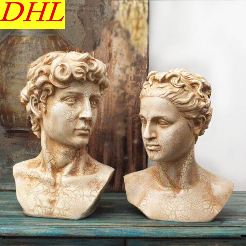 Retro David Bust Figure Statue Men/Lady Gypsum Resin Craftwork Continental Home Decorations Collectible L2119 115cm retro greek mythology venus bust figure aphrodite venus statue gypsum resin craftwork desktop home decorations l2190