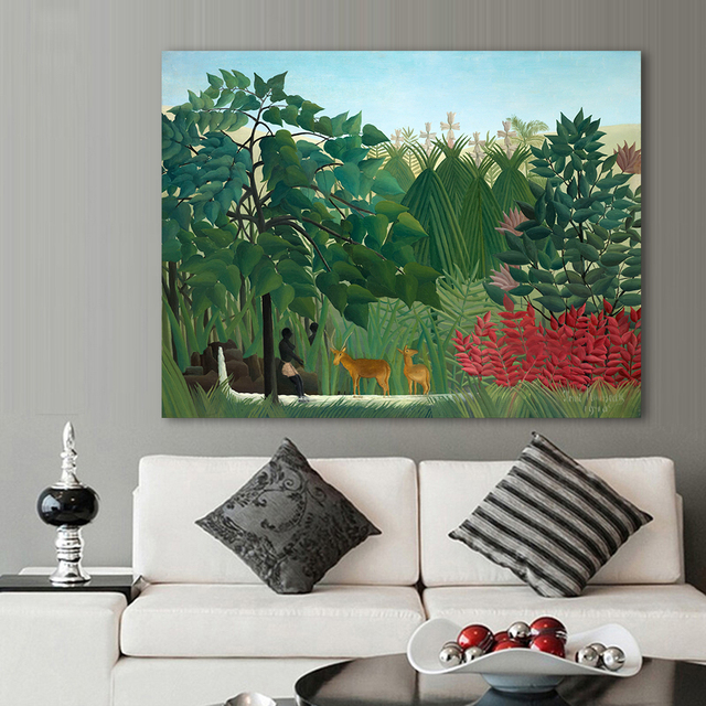 HDARTISAN Primitivism Oil Painting Henri Rousseau The Waterfall Home Decor  Wall Pictures For Living Room Canvas