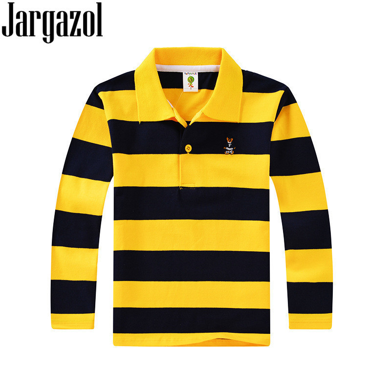 Polo Shirt Kids Clothes Tops Color Stripes Turn-down Collar Autumn Long Sleeve Polos Baby Boy Camisetas Boys Shirts Teen 3T-15T classic turn down collar long sleeve yellow and black plaid shirt for men