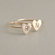 Personalized Initial, Letters Gold Silver Color Name Rings For Women Girls Statement Friendship Finger Heart Ring Jewelry Wholesale