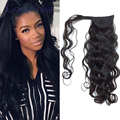 New peruvian loose wave clip in ponytail hair extension virgin human hair pieces and ponytails 16-24inch for women free shipping