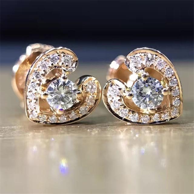 7ab59a44e LASAMERO 0.2CTW 18K Yellow Gold Round Cut Natural Diamond Heart Design  Cluster Earrings Stud Earrings
