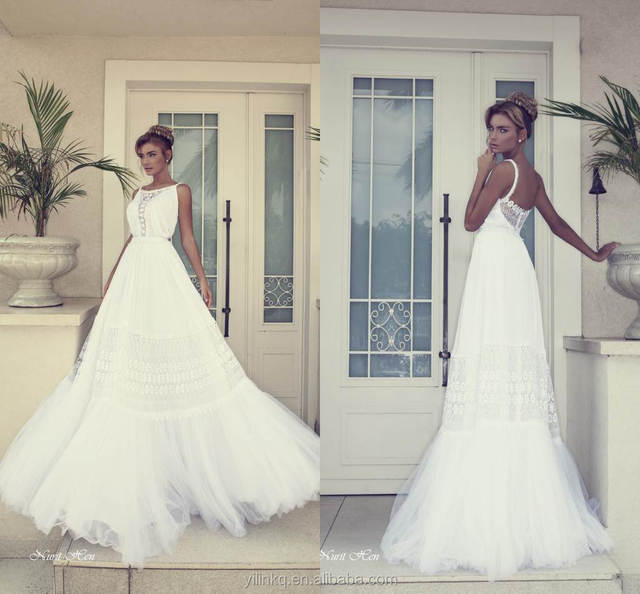 fc61d3ea89 Korean Style Nurit Hen A-line Beautiful Gown Indian Sexy Spaghetti Strap  Appliques Tulle China Cheap Beach Bridal Wedding Dress