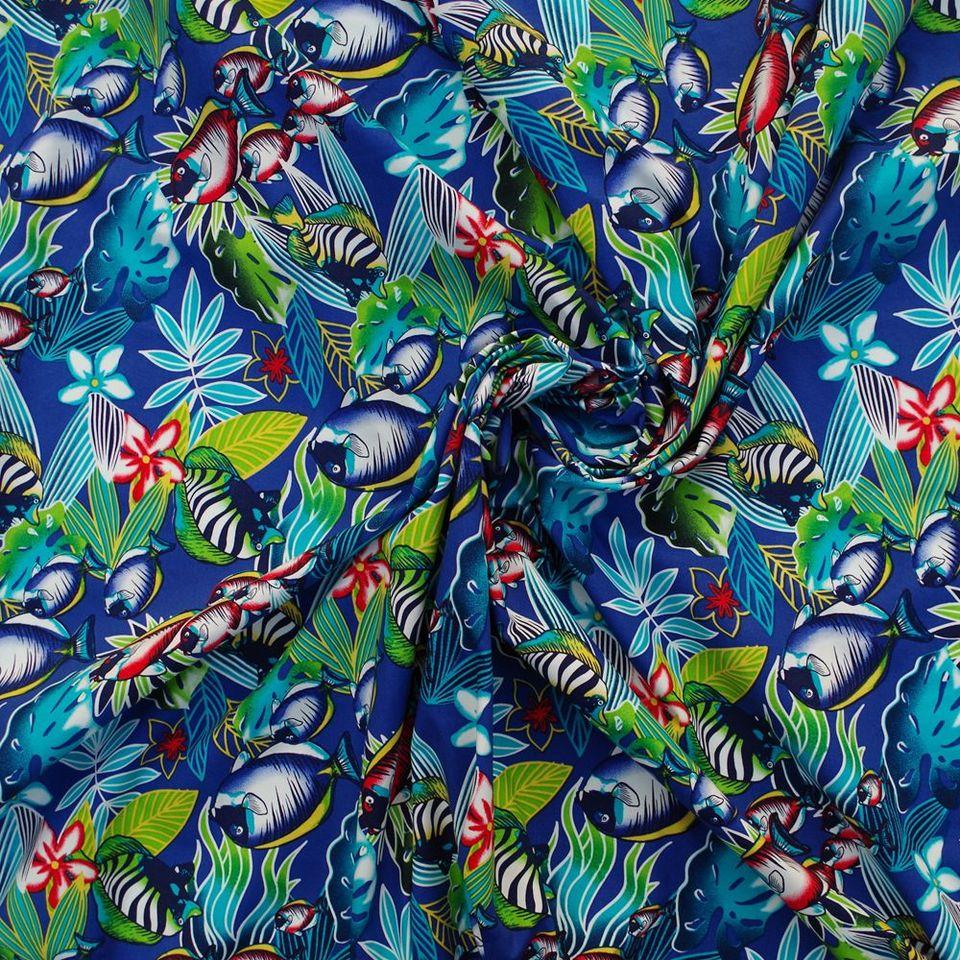 Azul Turquesa pirata material de tela de vida marina Poly Algodón Patchwork Manualidades 1M