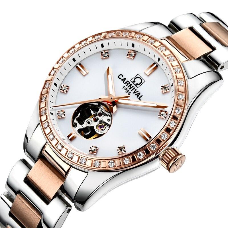 Switzerland Carnival Women Watches Luxury Brand ladies Automatic Mechanical Watch Women Waterproof relogio feminino 8685L-15