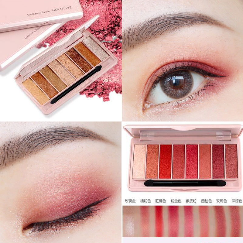 HOLD LIVE 8 Colors Glitter Eyeshadow Palette With Brush Peach Red Color Nude Pigment Matte Eye Shadow For Girl Korean Makeup Kit