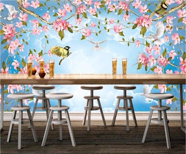 3d Papel Pintado Personalizado Mural Flores Y Pájaros Cielo Nubes