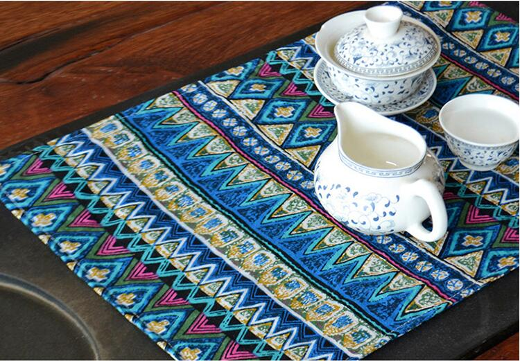 40*30cm Cotton Linen Coaster Placemat Pad Rectangle Europe Dining Table Mats Table Pad Coaster Table Decoration Kitchen wares