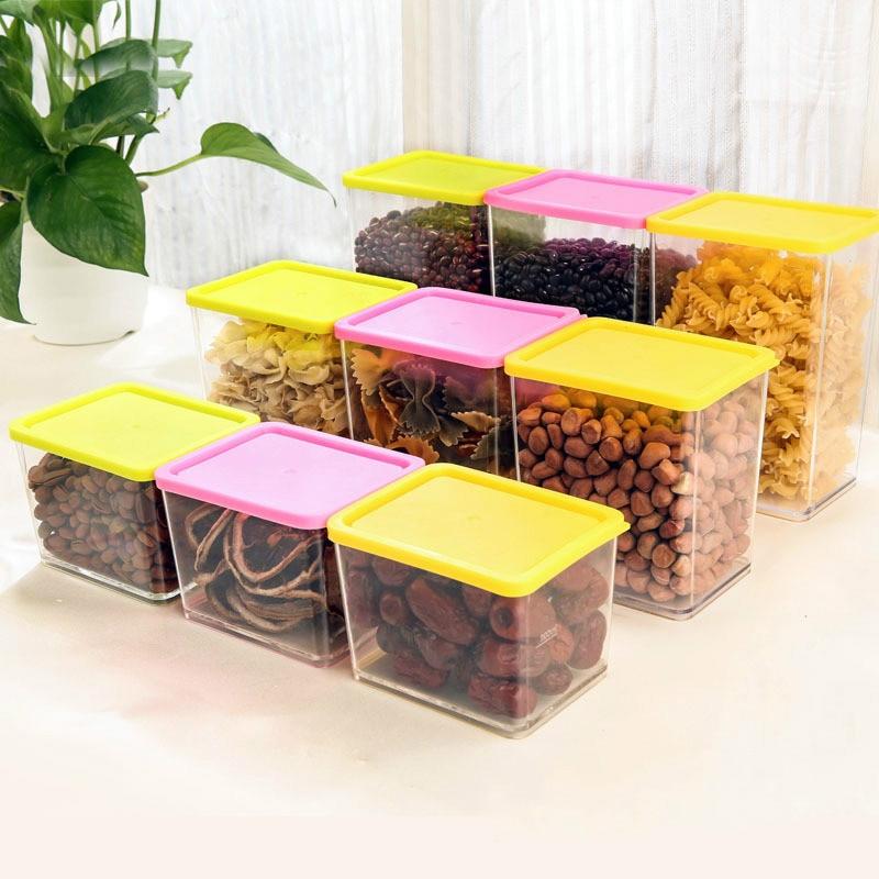 3Pcs/Set Environmental Protection Plastic Storage Box Grains Tank Cans Kitchen Plastic Sealed Storage Organization Gadgets