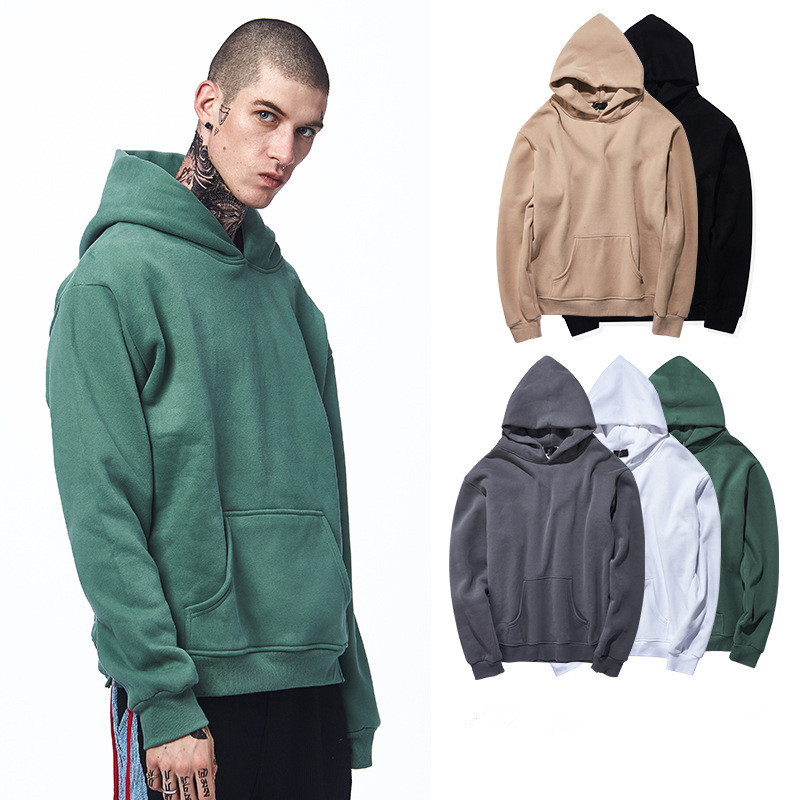 Euramerican Men S  Fleece Loose Long Sleeve Pullover Sweatershirt Spring Autumn Solid Color Casual Cashmere Hooded Sweater Tops