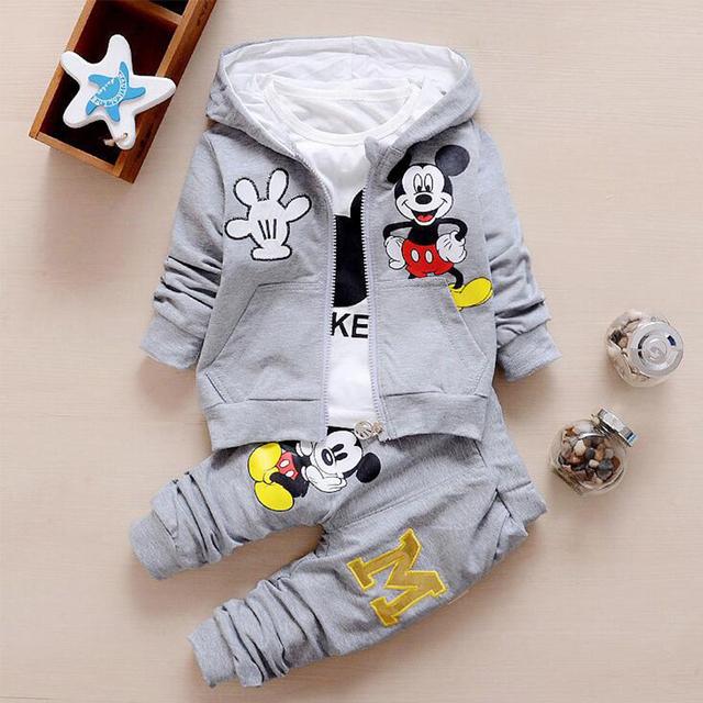 Nuevo Otoño casual baby girl/boy ropa Linda de minnie de algodón t-shirt + coat + pants 3 juegos de ropa de bebé niñas niños ropa conjuntos