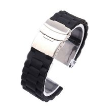 Men  Strap Waterproof Silicone Rubber Watch Band Bracelet Folding Clasp Stripes Watchband
