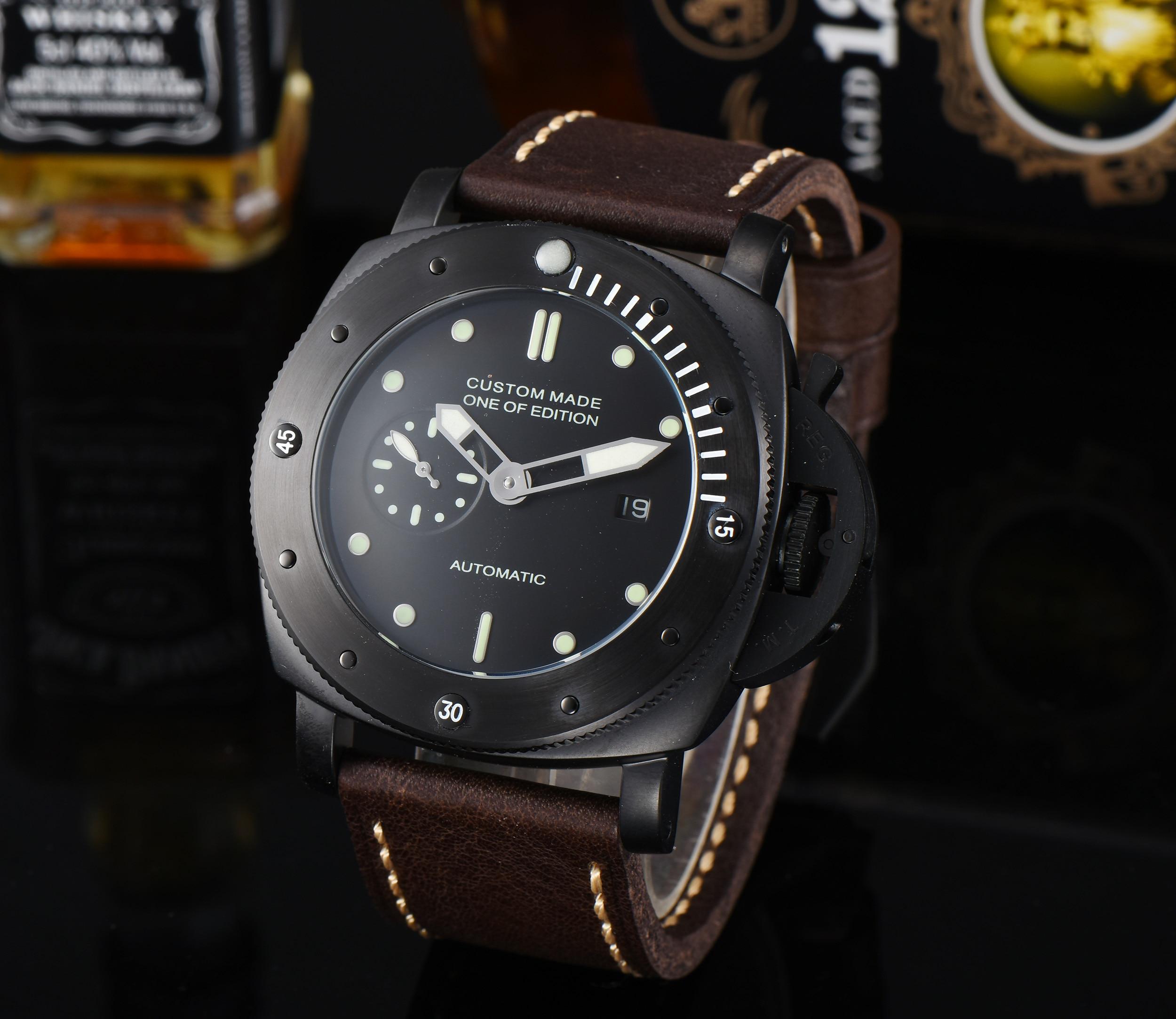 47 มม. นาฬิกา Parnis อัตโนมัติ PVD สายหนังสแตนเลส Hollow Back Cover Z719 3-ใน นาฬิกาข้อมือใส่เล่นกีฬา จาก นาฬิกาข้อมือ บน   1
