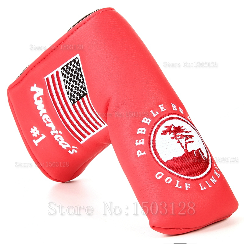 High Quality 1pc Golf Blade Putter Covers  Putter USA Flag Red Super Bees Embroidery Headcover