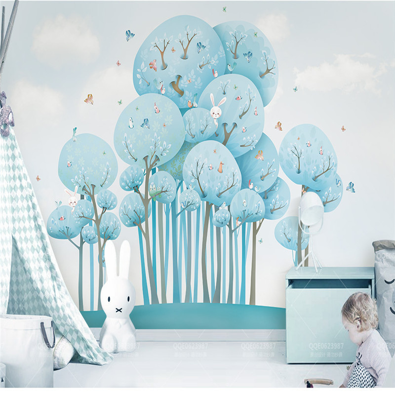 Custom Photo Murals 3D Cartoon Forest Wallpapers for Children Room Background Walls Kids Paper Butterfly Rabbit Tree Home Decor