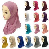 Kids Girls Flower Hijab Rhinestone Caps Muslim Head Cover Shawls Headscarf Islamic Hat Full Cover Prayer Hat Hair Loss Headwear